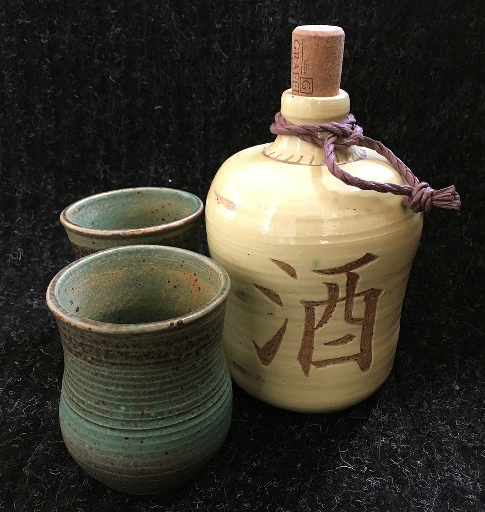 Image of Antiqued Sake Bottle and Cups