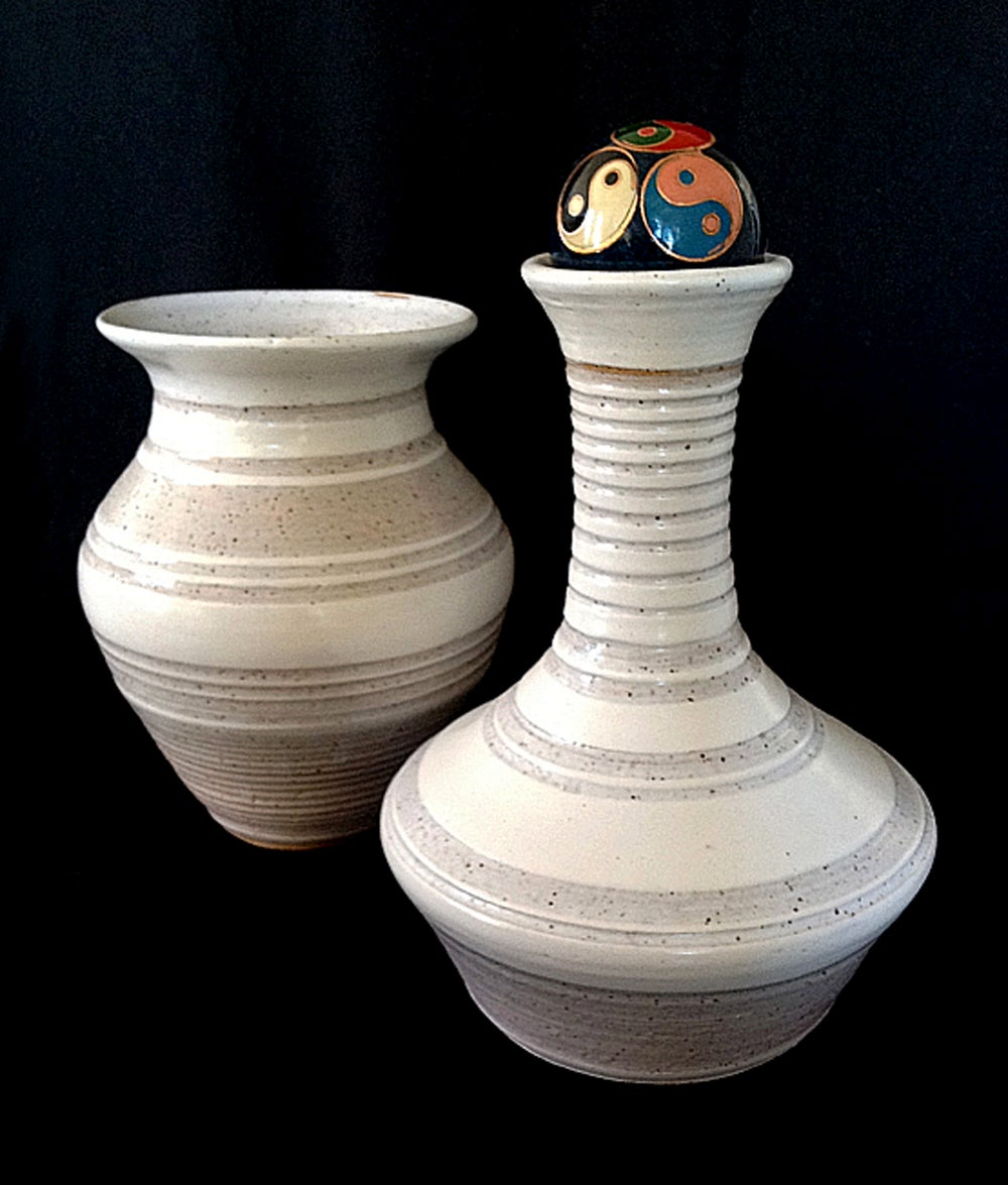 Image of Set of White Striped Vases