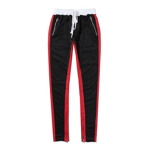 Image of Red Striped Zip Up Jogger