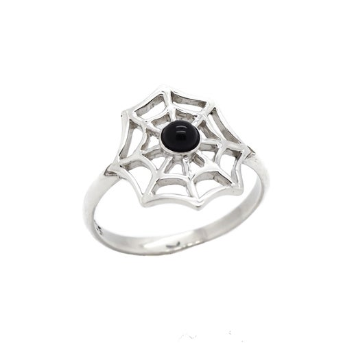 Image of Sterling Silver & Black Onyx Spiders Web Ring.