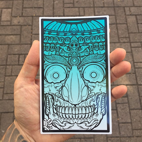 Image of TIBET SKULL (RECTANGLE BLUE STICKER)