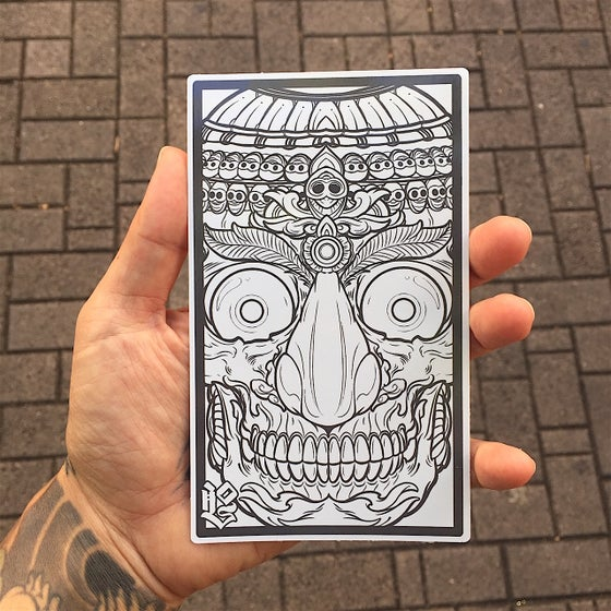 Image of -TIBET SKULL STICKER (GREY ON WHITE)