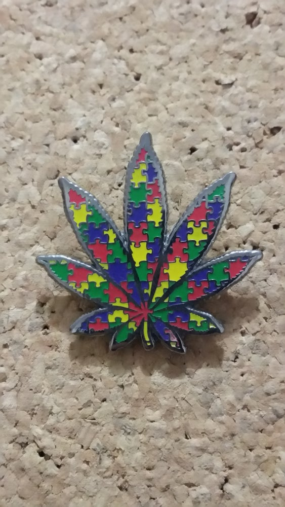 Image of Autism leaf hat pin