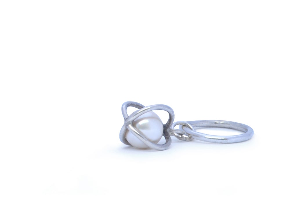 Image of Pearl Basket Ring in Sterling Silver
