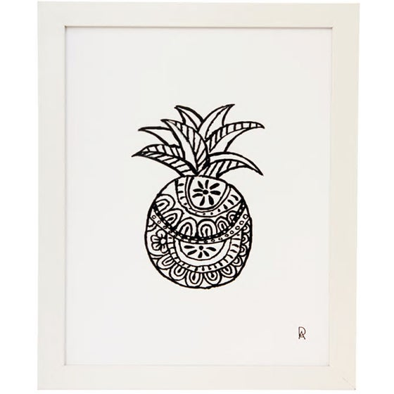 Image of Black and White Pineapple 1 Art Print