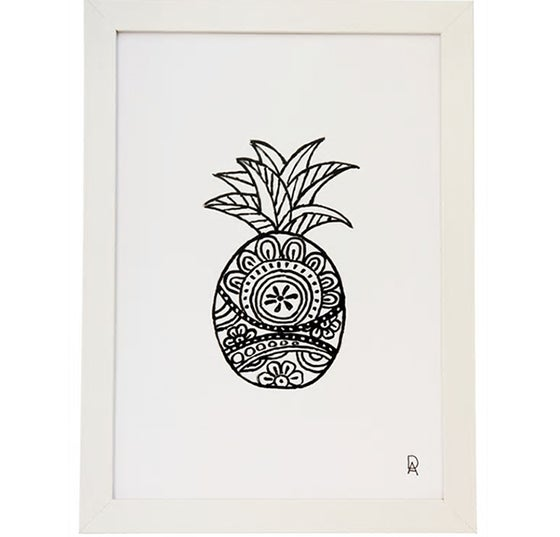 Image of Black and White Pineapple 2 Art Print