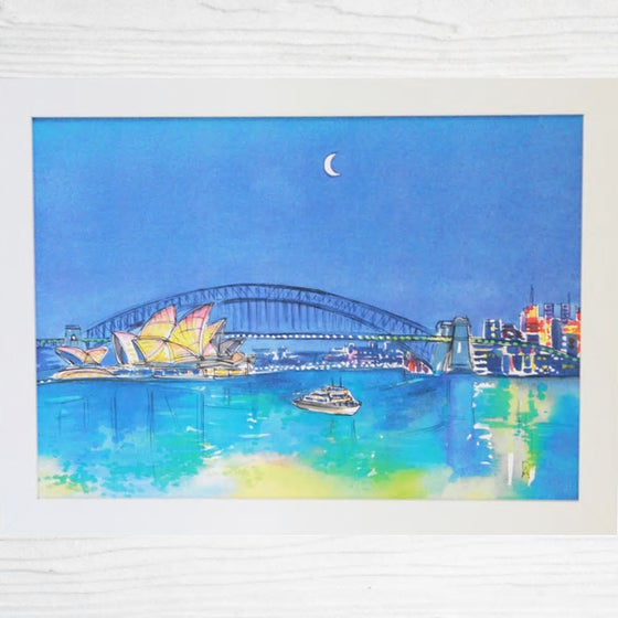 Image of Sydney Harbour At Night Art Print