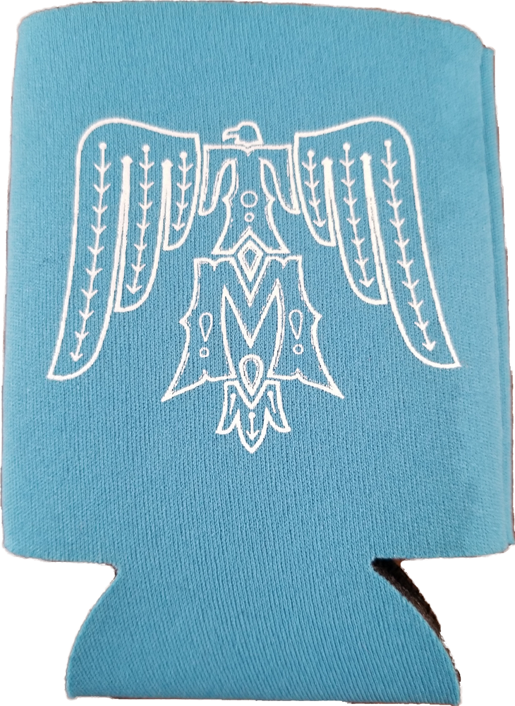Image of Turquoise koozie with double sided white lettering