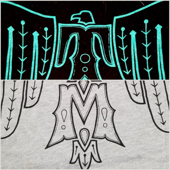 Image of Grey heathered Tee with black ink and black tee with turquoise ink