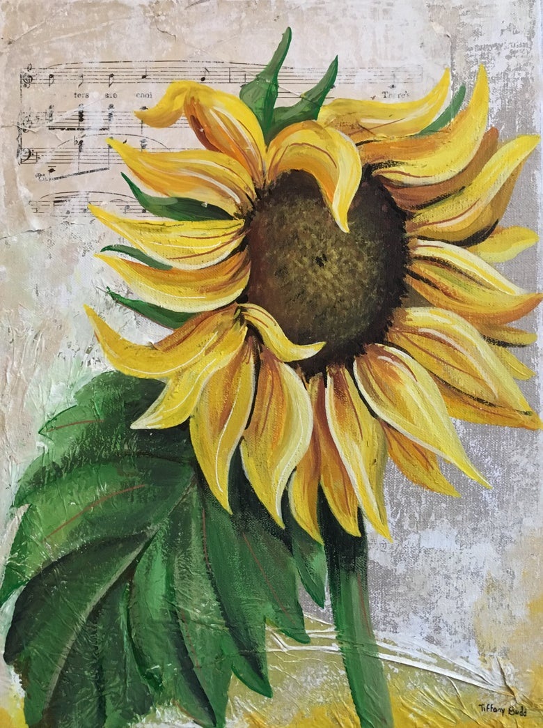 Image of Sunflower on linen
