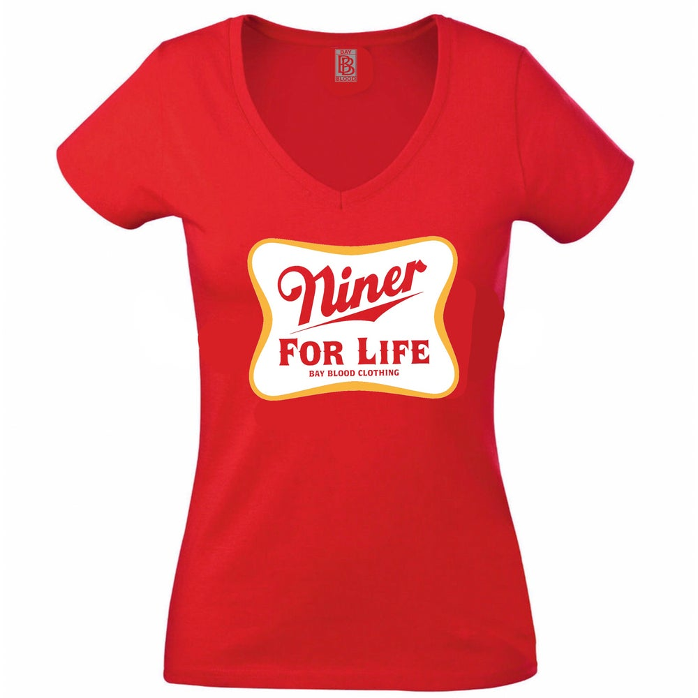 Image of Woman's Vneck NINER FOR LIFE (red)