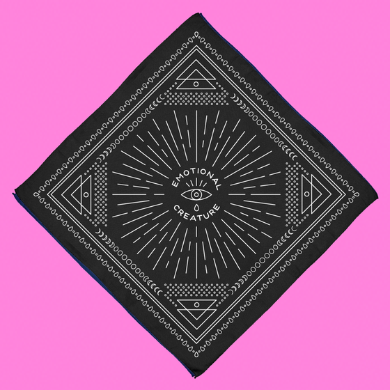 "Image of ""EMOTIONAL CREATURE"" BANDANA, BLACK."
