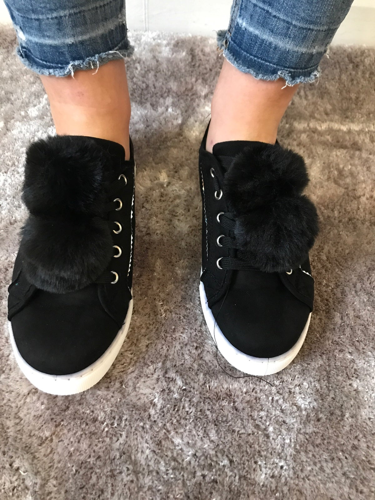 Image of Black Pom Pom trainers