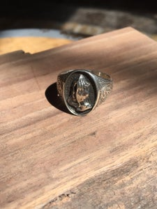 Image of Silver Engraved Prayer hands ring