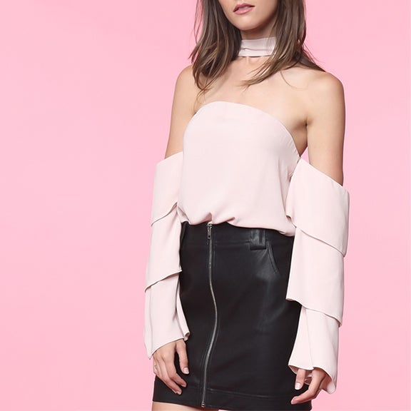 Image of Neck Band Tiered Ruffle Blouse