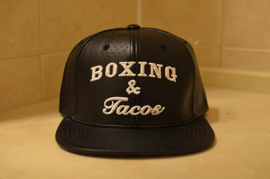 Image of Black Perforated Boxing & Tacos Leather Snapbacks
