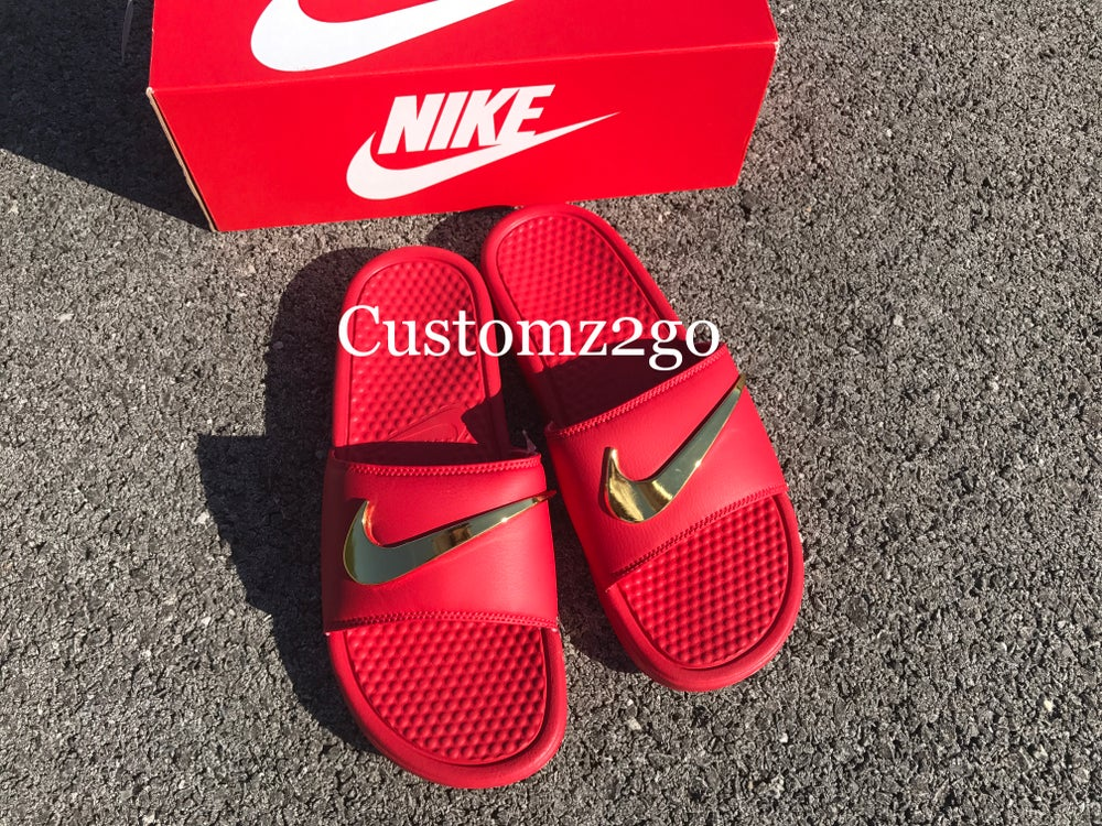 3ace0c882581 Image of All Red Nike Benassi Slides Custom with Gold Check