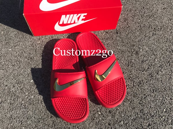 5dba0ed76f3e All Red Nike Benassi Slides Custom with Gold Check