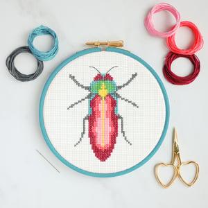Image of Pink Beetle cross-stitch kit