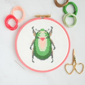 Image of Green Scarab cross-stitch kit