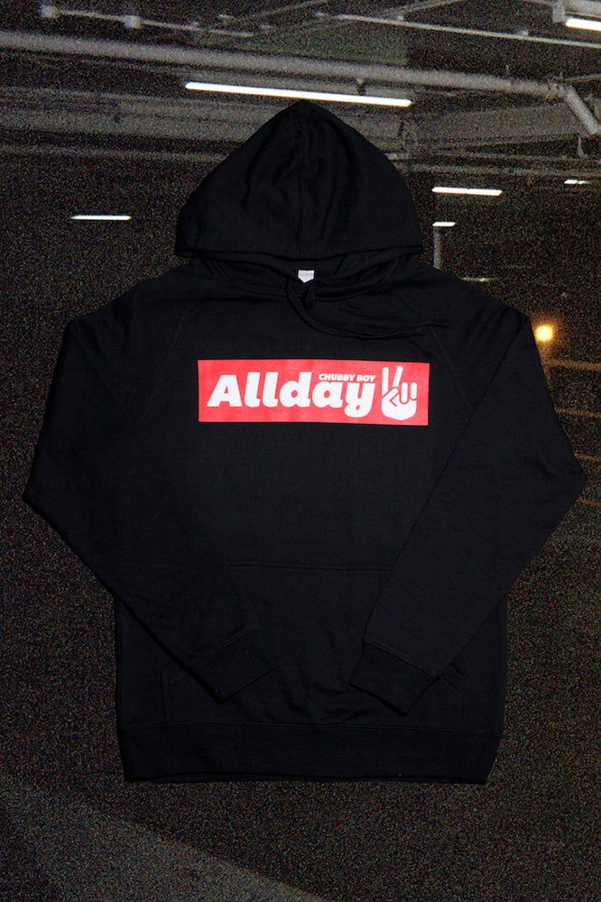 Image of Allday Peace Sign Black Hoodie
