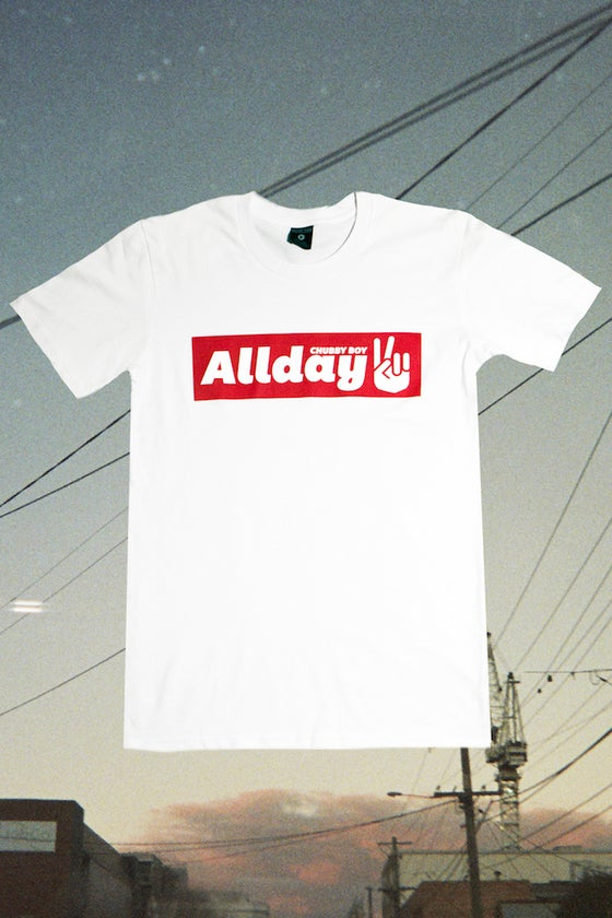 Image of Allday Unisex Peace Sign Tee White