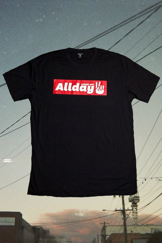 Image of Allday Peace Sign Black Tee