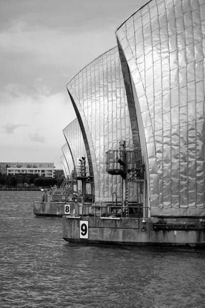 Image of Thames Barrier, September 2017 - black & white print