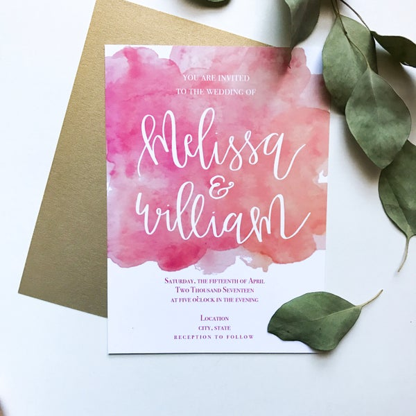 Image of Melissa Watercolor Invitation Suite