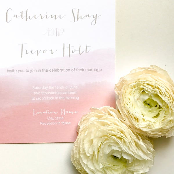 Image of Catherine - dip-dyed watercolor invitation suite