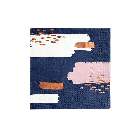 Image of Erika - Navy Abstract Cocktail Napkins