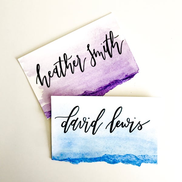 Image of Calligraphy Watercolor Escort/Place Cards