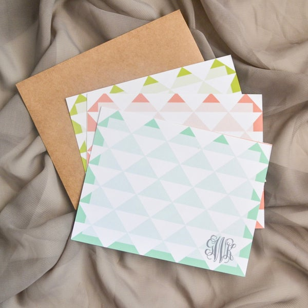 Image of Modern Triangle Monogram Notecards