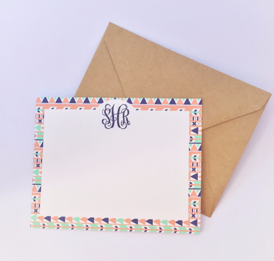 Image of Aztec Monogram Notecards