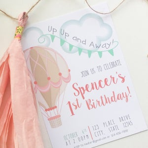 Image of Up, Up, and Away! Hot Air Balloon Theme Birthday Invitation