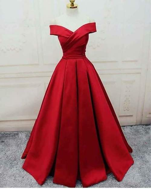 Red Satin Off Shoulder Floor Length Prom Dress 2018, Gorgeous Prom Gowns, Red Party Dresses