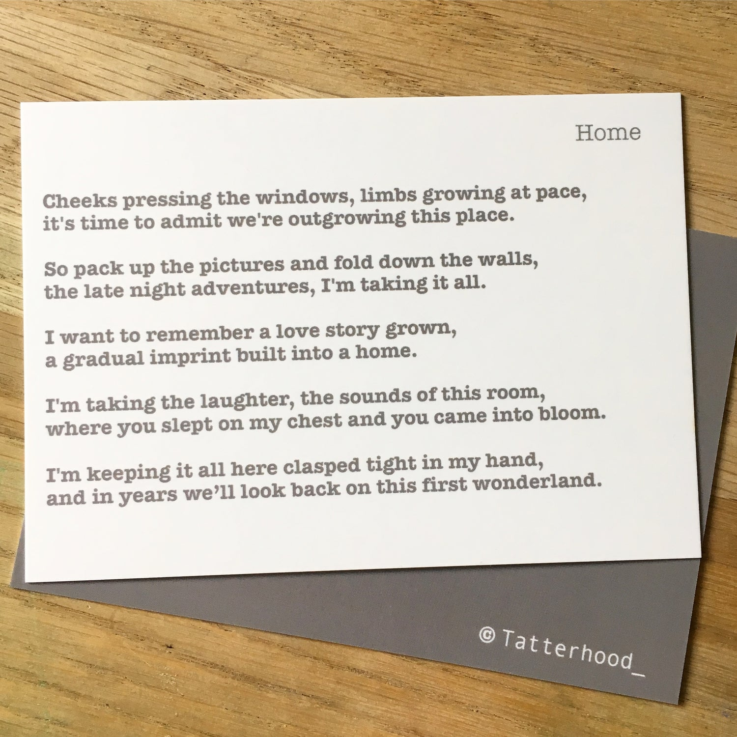 Image of Home - Poem Postcard (Small - A6 size)