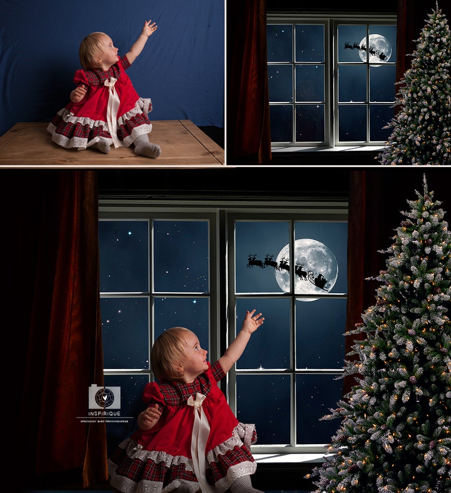 Christmas Window.Waiting For Santa Christmas Window Santa Over Moon Holiday Window Digital Background
