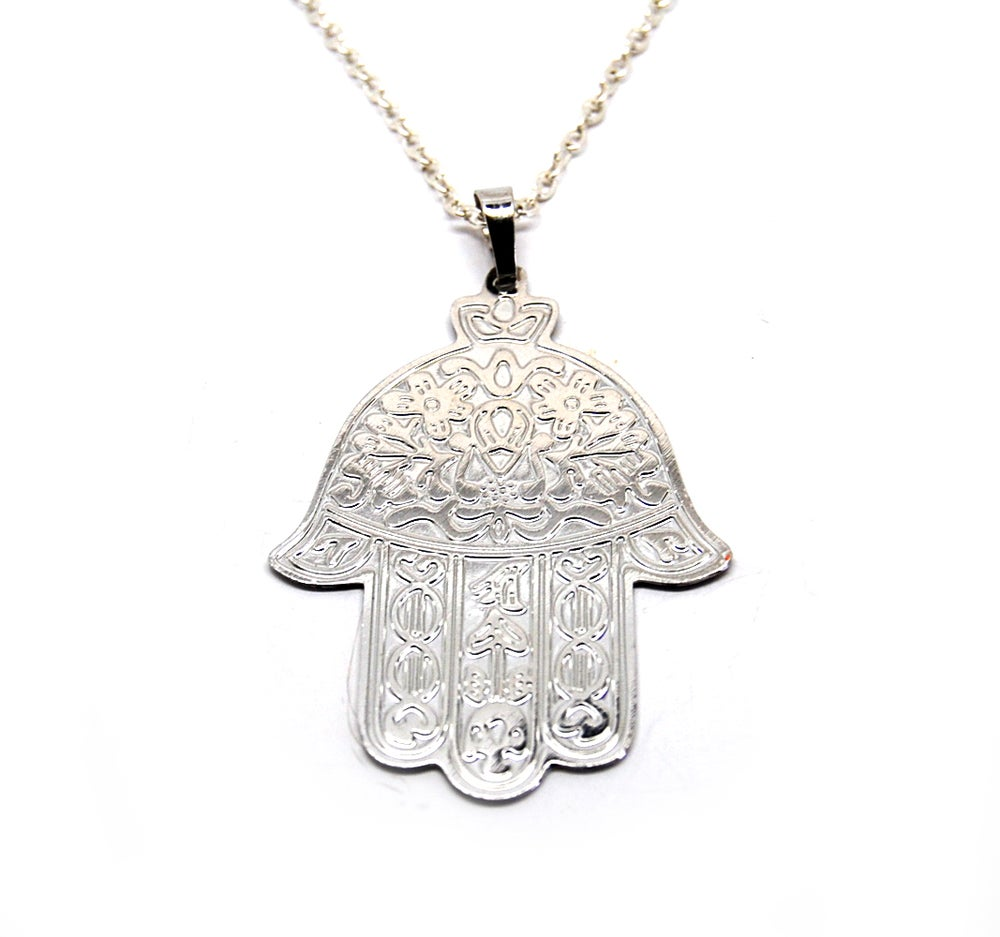 Image of Large Silver Hamsa Hand Necklace