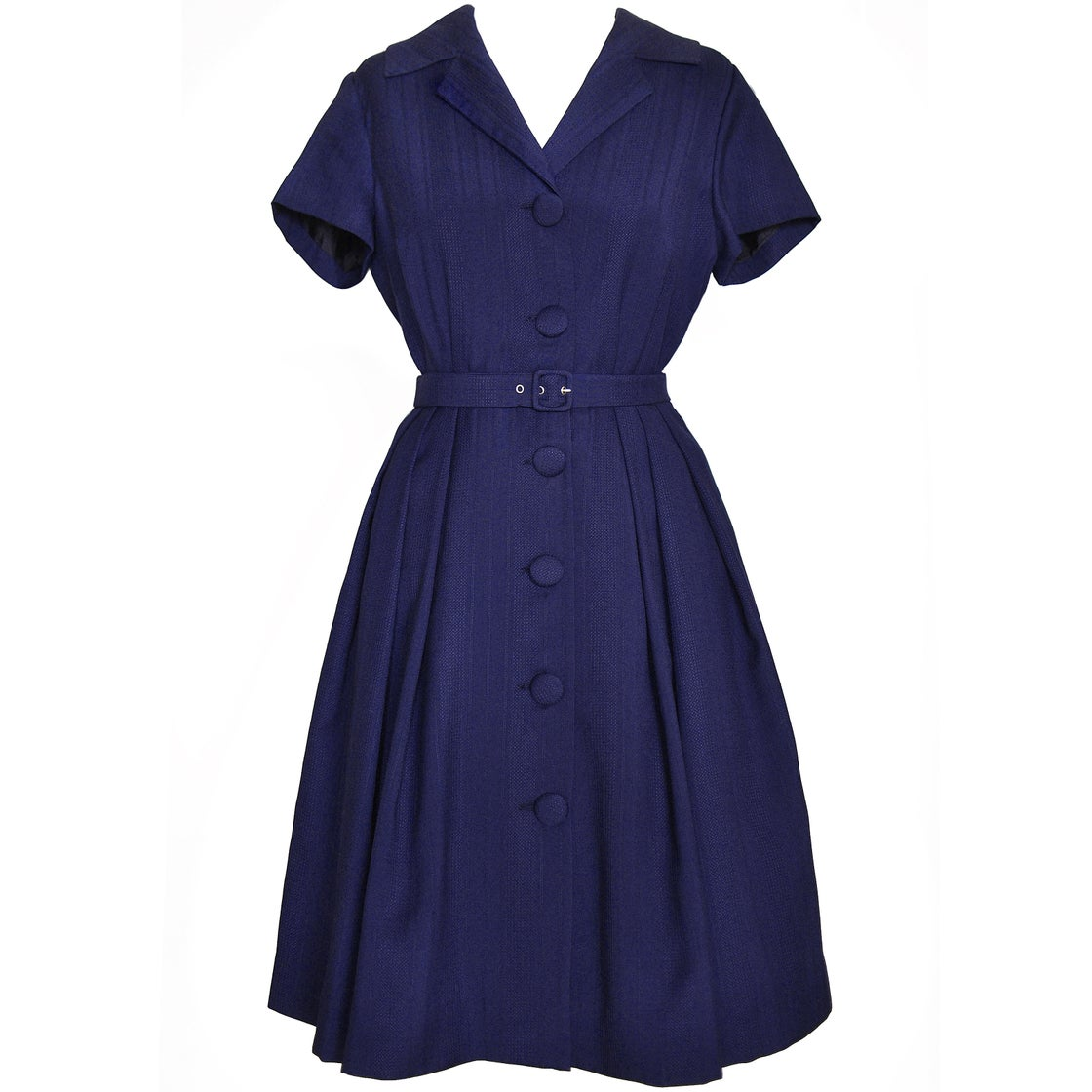 Image of 'Venezia' Shirtwaist Dress in Navy