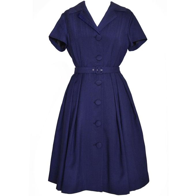 Image of 'Venezia' Shirtwaist Dress in Navy