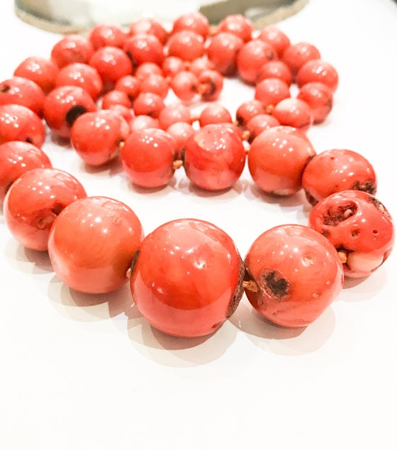 Image of Long, Chunky, Graduated Orange Bamboo Coral Necklace