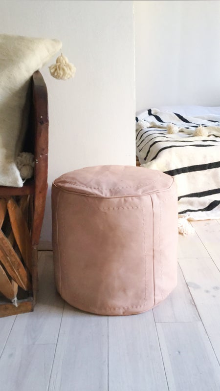 Image of Moroccan Natural Leather Pouf - Cylindric