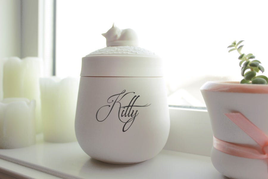 Image of Custom Darling Ivory Pet Urn With Name