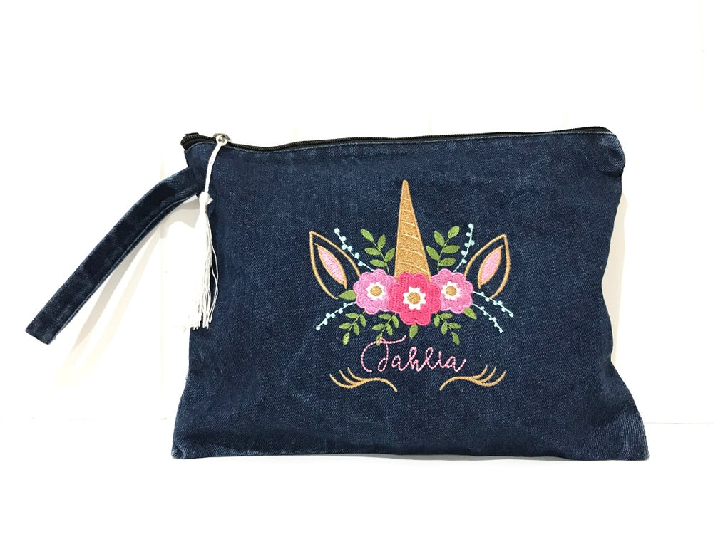 Image of Unicorn Denim Pouch - Personalised