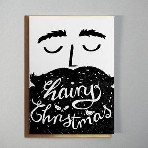 Image of Hairy Christmas Letterpress Card with Gold Envelope