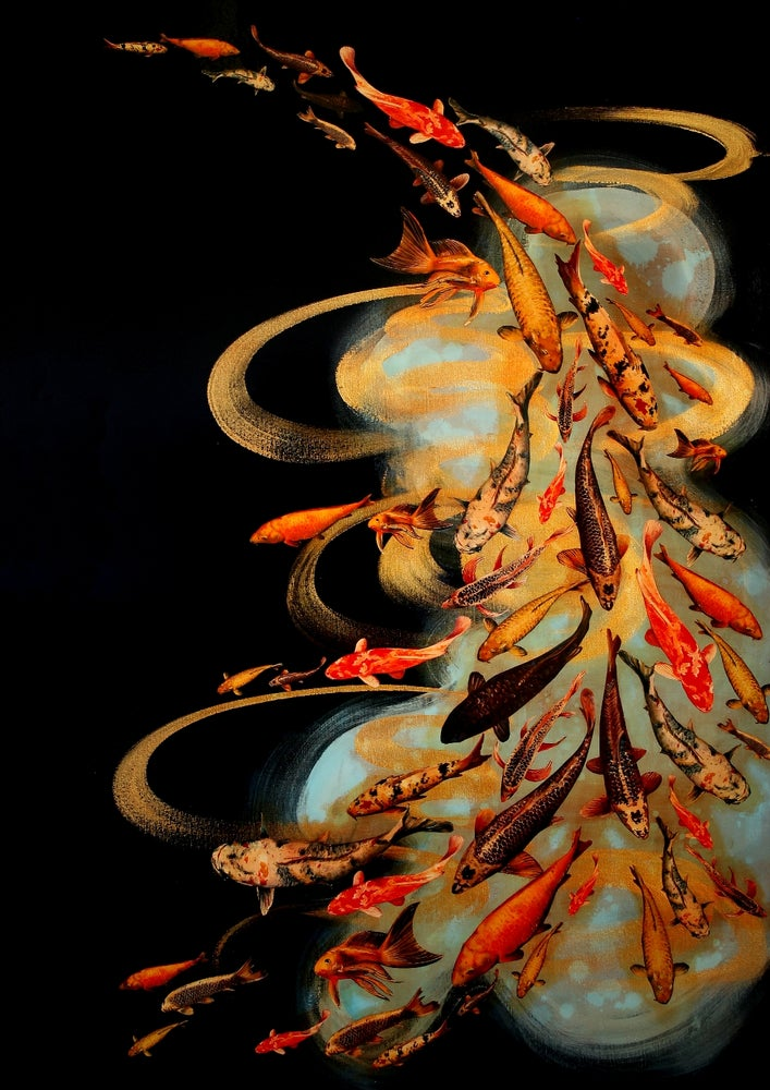 Image of Lily Greenwood Giclée Print -Koi on Black/Pale Blue/Gold -A2 (Open Edition)