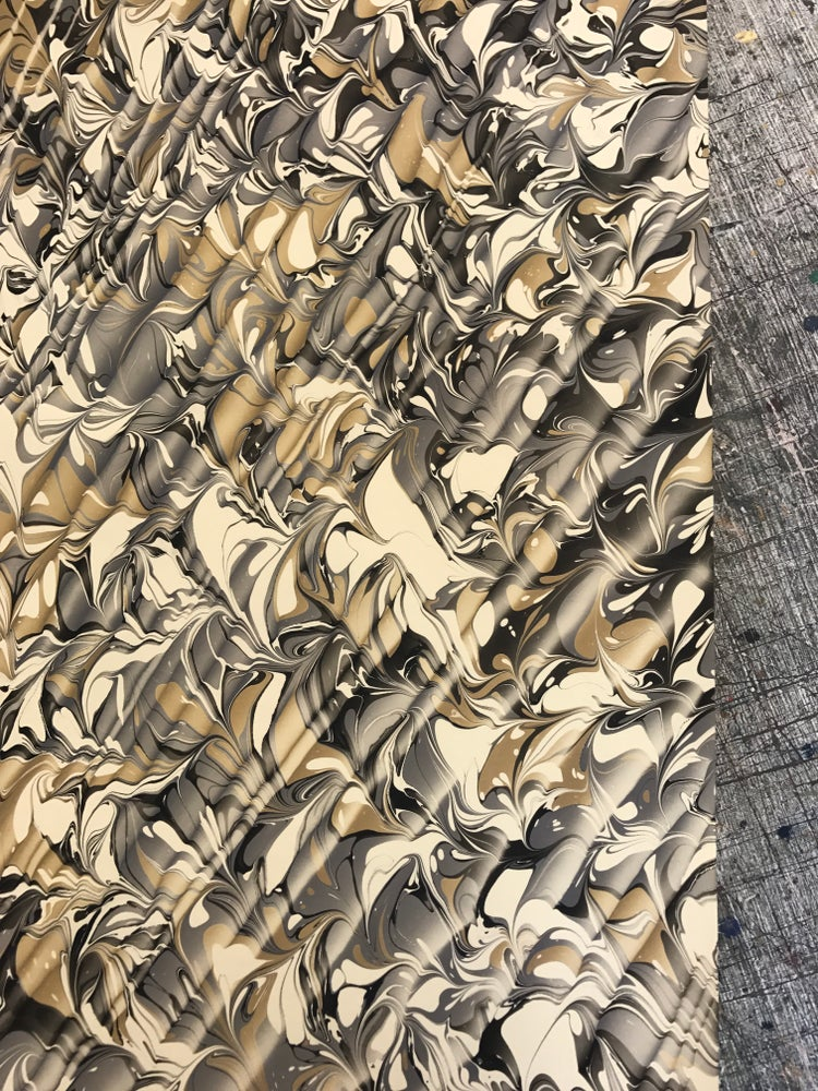 Image of Marbled Paper #32 Combed Design in Black, Grey and Ochre