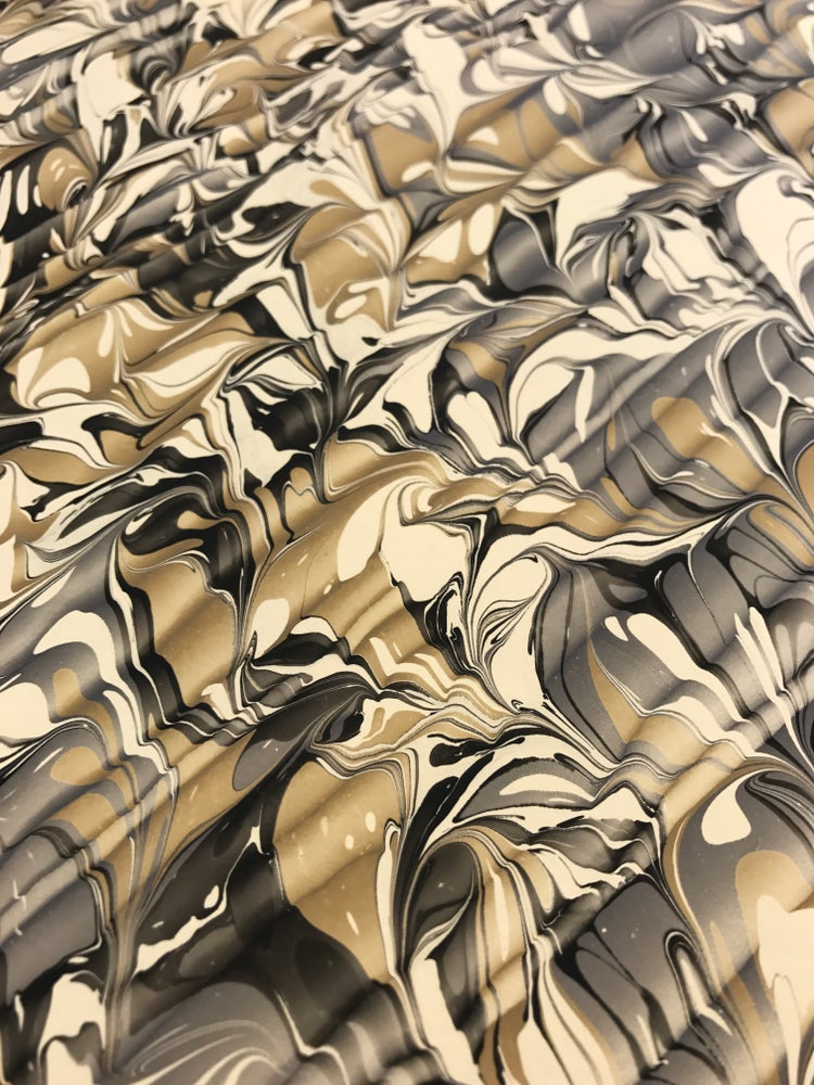 Image of Marbled Paper #32 combed grey and ochre