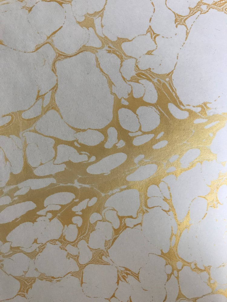 Image of Marbled Paper; Classic Metallic gold vein on white base paper